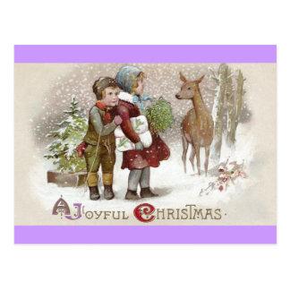 Children Encounter Deer on Snowy Day Vintage Postcards