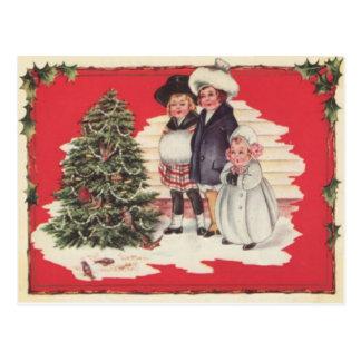 Children Enjoying The Christmas Tree Postcard