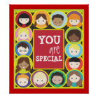 Children Faces Teacher's Classroom Poster