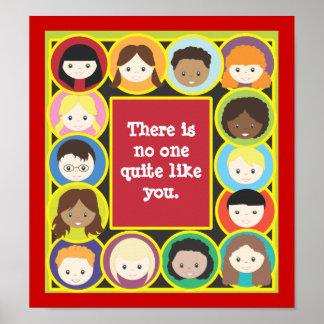 Children Faces Teacher's Classroom Poster