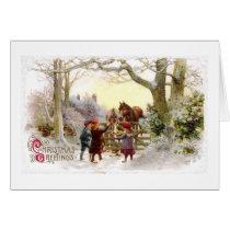 Children Feeding Horses Antique Christmas Card