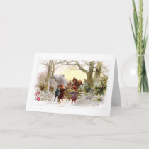 Children Feeding Horses Antique Christmas Holiday Card