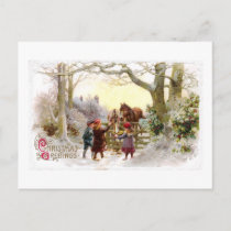 Children Feeding Horses Antique Christmas Holiday Postcard