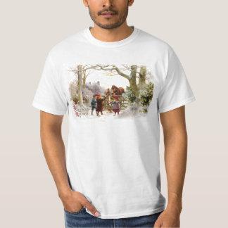 Children Feeding Horses Antique Christmas T-Shirt