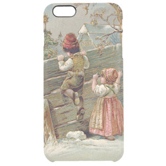 Children Fence Christmas Tree Winter Cottage Clear iPhone 6 Plus Case