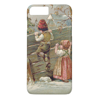 Children Fence Christmas Tree Winter Cottage iPhone 8 Plus/7 Plus Case