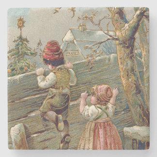 Children Fence Christmas Tree Winter Cottage Stone Coaster