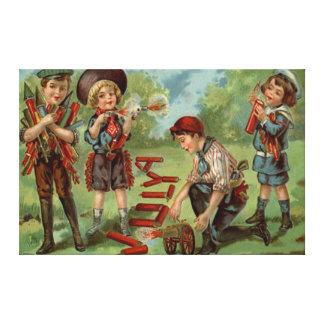 Children Fireworks Firecracker Cannon Canvas Print