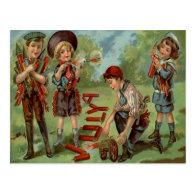 Children Fireworks Firecracker Cannon Post Cards
