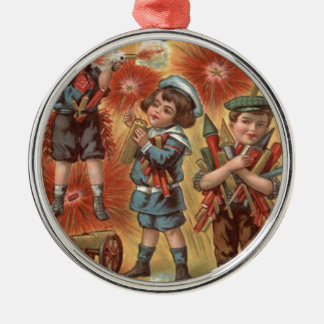 Children Fireworks Firecracker Explosion Metal Ornament
