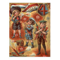 Children Fireworks Firecracker Explosion Post Cards
