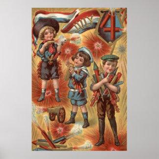 Children Fireworks Firecracker Explosion Poster
