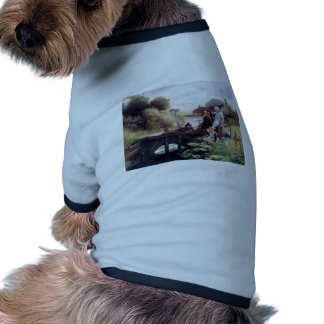 Children Fishing Old Bridge Country Painting Dog T-shirt