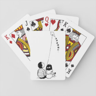 Children Flying A Kite Playing Cards