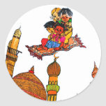 Children Flying On Magic Carpet Over Minarets (w) Classic Round Sticker