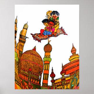Children Flying On Magic Carpet Over Minarets (w) Poster