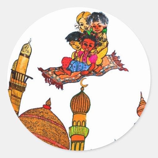 Children Flying On Magic Carpet Over Minarets (w) Stickers
