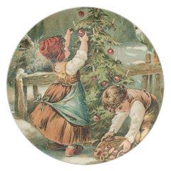 Children Gathering Christmas Apples Plate