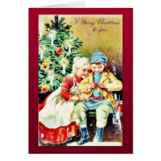 Children getting ready for Christmas night by prep Greeting Card