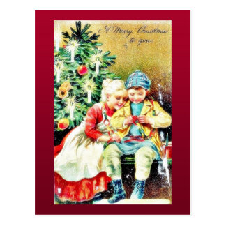 Children getting ready for Christmas night by prep Postcard