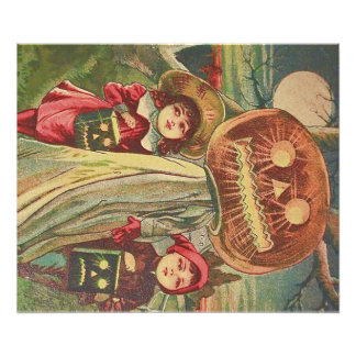 Children Ghost Jack O' Lantern Pumpkin Photo Print