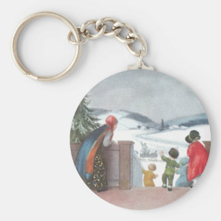 Children Greet Visitors Vintage Christmas Keychain