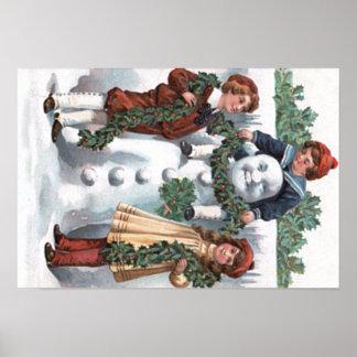 Children Hanging Holly Garland Snowman Poster