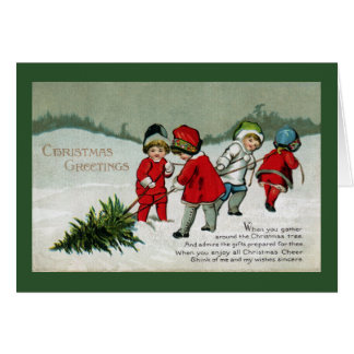 Children Hauling Christmas Tree Vintage Card