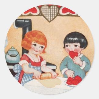 Children & Heart Cookies Vintage Sticker