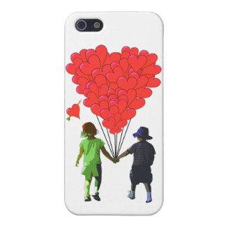 Children holding hands and heart shaped balloons cover for iPhone SE/5/5s