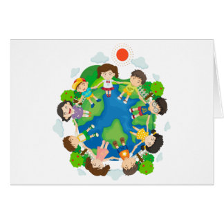 Children holding hands around the earth card