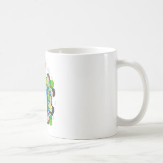 Children holding hands around the earth coffee mug