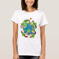 Children holding hands around the earth T-Shirt