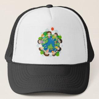 Children holding hands around the earth trucker hat