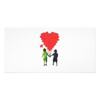 Children holding hands & heart shaped balloons card
