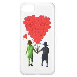 Children holding hands & heart shaped balloons iPhone 5C cover