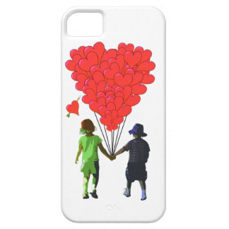 Children holding hands & heart shaped balloons iPhone SE/5/5s case