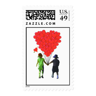 Children holding hands & heart shaped balloons postage stamp
