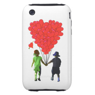 Children holding hands & heart shaped balloons tough iPhone 3 cases