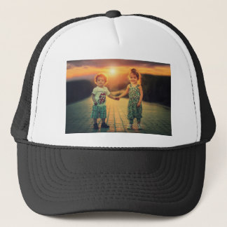 Children holding hands sunset love trucker hat