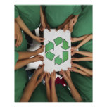 Children holding recycling sign print