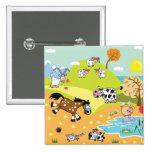 children illustration 2 inch square button