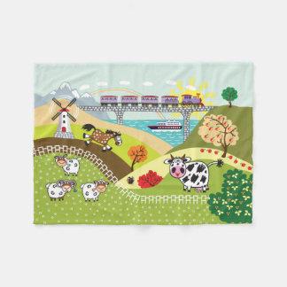 children illustration fleece blanket