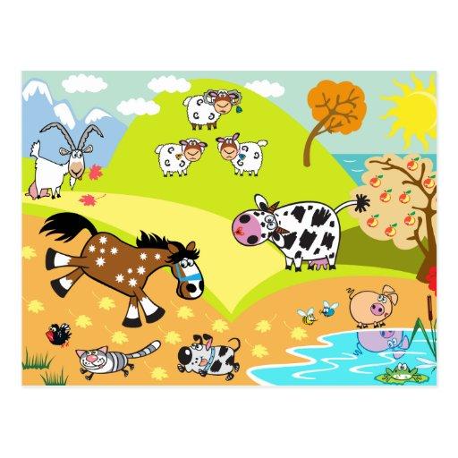 children illustration post cards