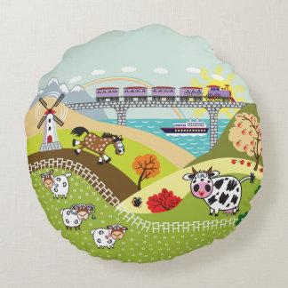 children illustration round pillow