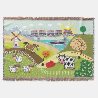 children illustration throw blanket