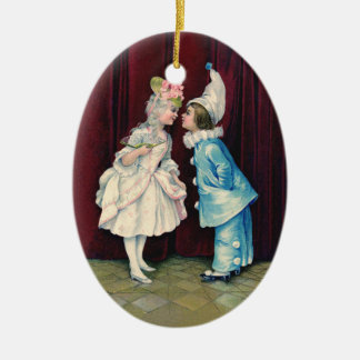 Children in 18th C Costume Ornament, vintage print Double-Sided Oval Ceramic Christmas Ornament