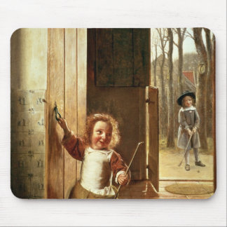 Children in a Doorway with 'Colf' Sticks Mouse Pad