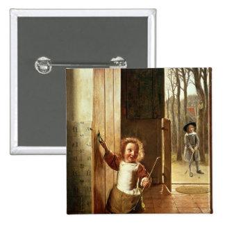Children in a Doorway with 'Colf' Sticks Pinback Button