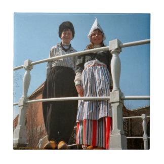 Children in Dutch National Costume Small Square Tile